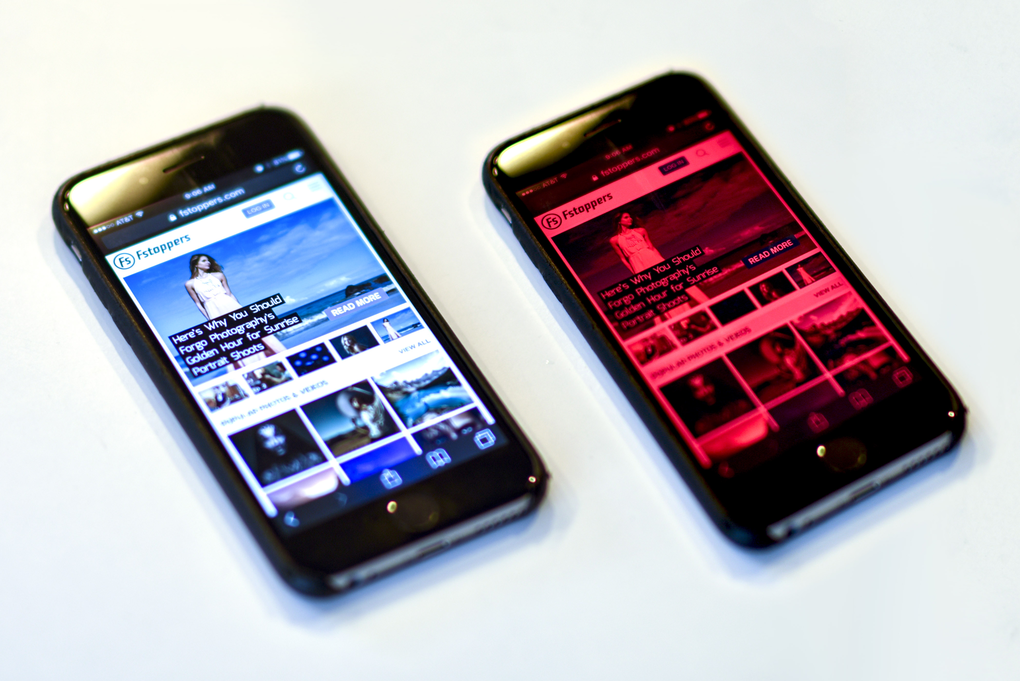 Photo of a phone without a colour over and one with a colour overlay