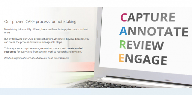 screen shot of CARE acronym. Capture annotate review engage