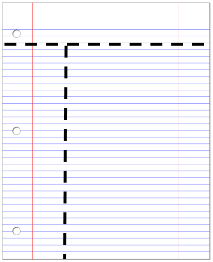 Note Paper Divided On The Top And The Left Hand Side