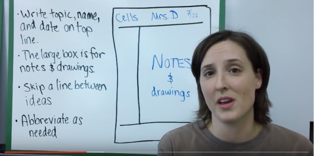 screen shot of woman in front of a diagram of the cornell method