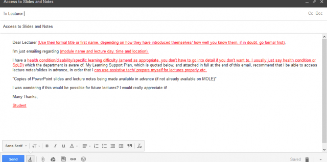 screen shot of email template in GMail
